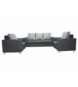 5 Seater Grey Jute Sofa Set 01